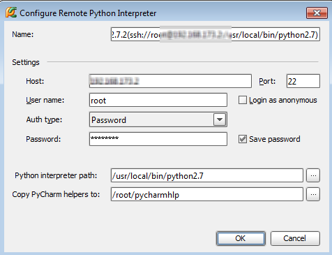 Python pycharm - configuring remote interpreters from