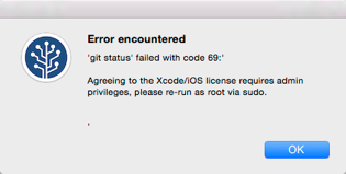 Solved: git status failed with code 69 error when opening